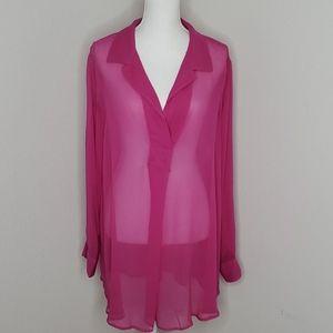 Soft Surroundings Silk Pink Long Sleeve Tunic